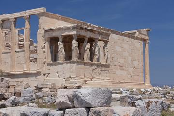 Caryatids porch at Erechtheion temple in Athens Greece