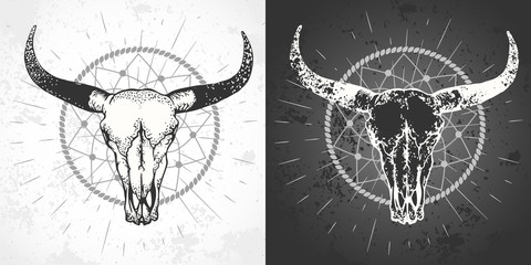 Vector illustration with a wild buffalo skulls with grunge elements.