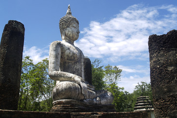statue of buddha,in the historical park of Sukhothai,Thailand