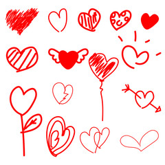 set red Doodle heart on white background