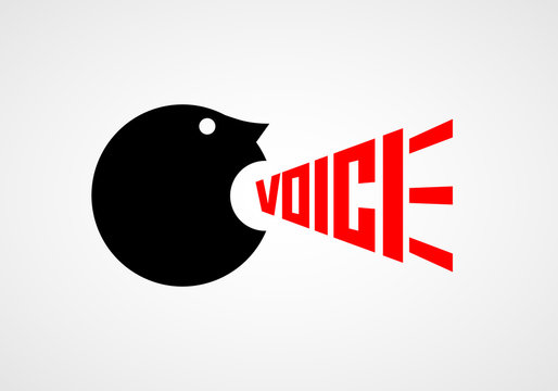 Voice. Crying man. Vector lettering
