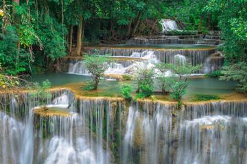 Huay Mae Kamin,Beautiful waterfall landscape in rainforset at Kanchanaburi province,Thailand