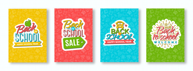 Back to school card set with color emblems consisting of school bus, apple, sunburst and sign welcome and happy school year on different background consisting of school supplies. Vector illustration.