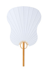 Chinese paper fan isolated on white background