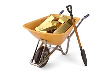 Gold ingots on wheelbarrow and shovel on white background 3D illustration.