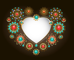 Ethnic frame in the shape of heart