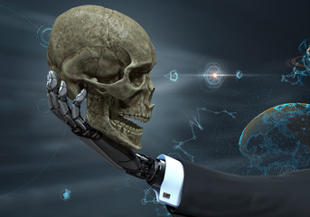 Robot arm holding human skull. Evolution Artificial intelligence business concept