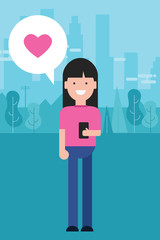 girl holding phone love shape heart in pink smiling modern material design character standing