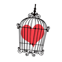 Deurstickers Vogels in kooien A Heart in the bird cage - vector.