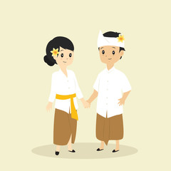 Indonesia - Bali couple wearing traditional dress vector illustration