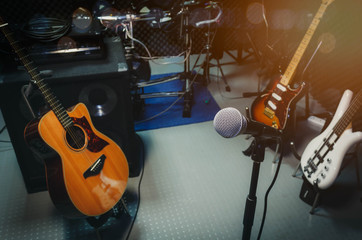 instrument rock music / musical band at home audio record room / studio recording. Equipment this...