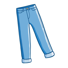 Cool and cute blue jeans in cartoon style - vector.