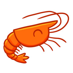 Funny and cute prawn smiling - vector.