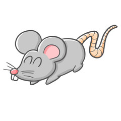 Funny and cute grey rat smiling - vector.