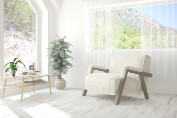 White room with armchair and summer landscape in window. Scandinavian interior design. 3D illustration