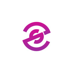 Initial letter zs, sz, s inside z, linked line circle shape logo, purple pink gradient color