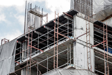Construction scaffolding of a building