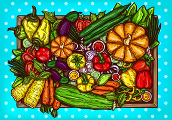 Vector cartoon illustration of various vegetables whole and sliced on a wooden background. Bright poster with organic food
