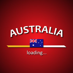 Australian flag loading bar - tourism banner for travel agencies and for other different events