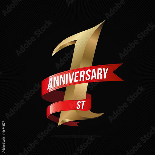 1 Year Anniversary Golden Logo With Red Ribbon One Celebration