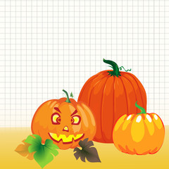 Happy Halloween Background Design with Pumpkins