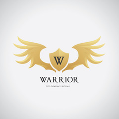 Warrior  wing logo template. vector illustration