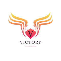 Victory wing logo template. vector illustration