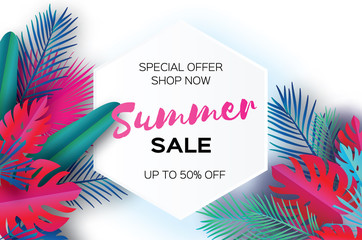Trendy Summer Sale Template banner. Paper art Tropical palm leaves, plants. Exotic. Hawaiian. Space for text. Hexagon frame. Colorful jungle floral background. Monstera. Vector