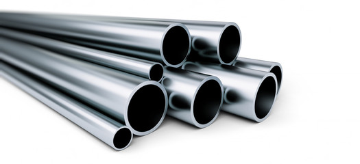 metal pipe on white background. on a white background 3D illustration, 3D rendering