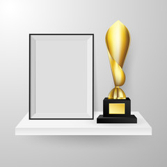 Realistic Faceted golden winner trophy and photo frame on shelf realistic side view composition vector.
