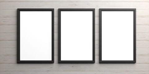 Black frames on wooden background. 3d illustration