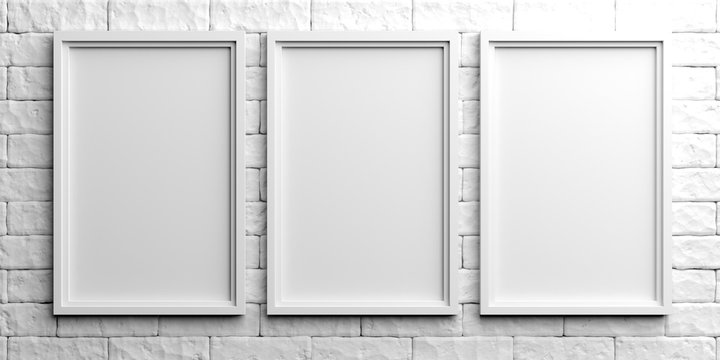 White frames on white brick background. 3d illustration