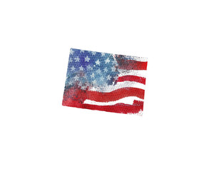 United States Of America. Watercolor texture of American flag. Colorado.