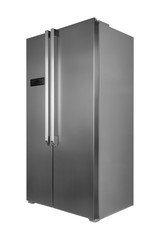 Metal refrigerator isolated on white background