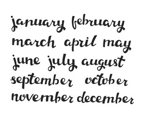 Hand-drawn Calendar Set. Set of Months of the Year. Vector Calligraphy.  Handlettering Isolated on White.