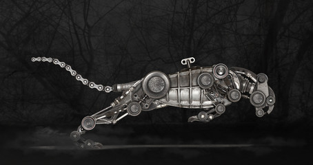 Steampunk style panther