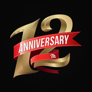 12 Years Anniversary Golden Logo Celebration with Red Ribbon