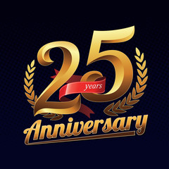 25 Years Anniversary Golden Logo Celebration with Red Ribbon