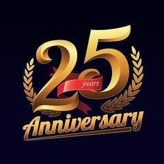 Fototapeta 25 Years Anniversary Golden Logo Celebration with Red Ribbon obraz