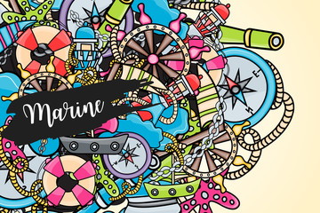 Marine doodle elements, hand drawn style. Ocean vector illustration background with nautical theme objects.