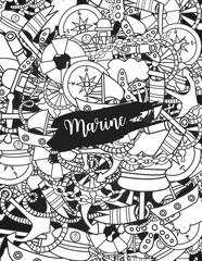 Marine doodle outline line art elements, hand drawn style. Ocean vector illustration coloring page with nautical theme objects.