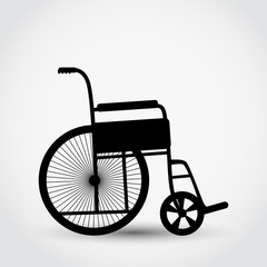 Wheelchair medical care flat icon vector illustration