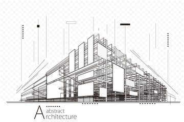 Abstract construction perspective architecture designing line art background.   Wall mural