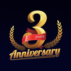 3 Years Anniversary Golden Logo Celebration with Red Ribbon