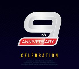 9 years anniversary invitation card, celebration template design, 9th. anniversary logo, dark blue background, vector illustration