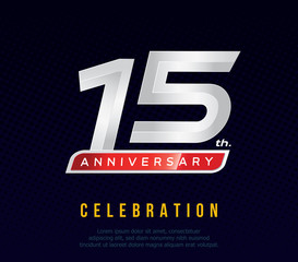 15 years anniversary invitation card, celebration template design, 15th. anniversary logo, dark blue background, vector illustration