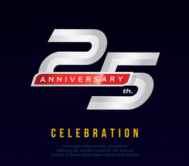 25 years anniversary invitation card, celebration template design, 25th. anniversary logo, dark blue background, vector illustration