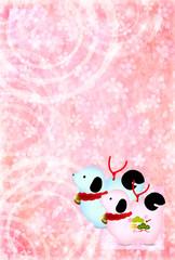 戌 桜 年賀状 背景