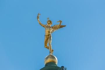 Paris, place de la Bastille, statue of the golden angel, closeup