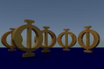 goldene griechische Großbuchstaben PHI auf dunkelblauem Untergrund
